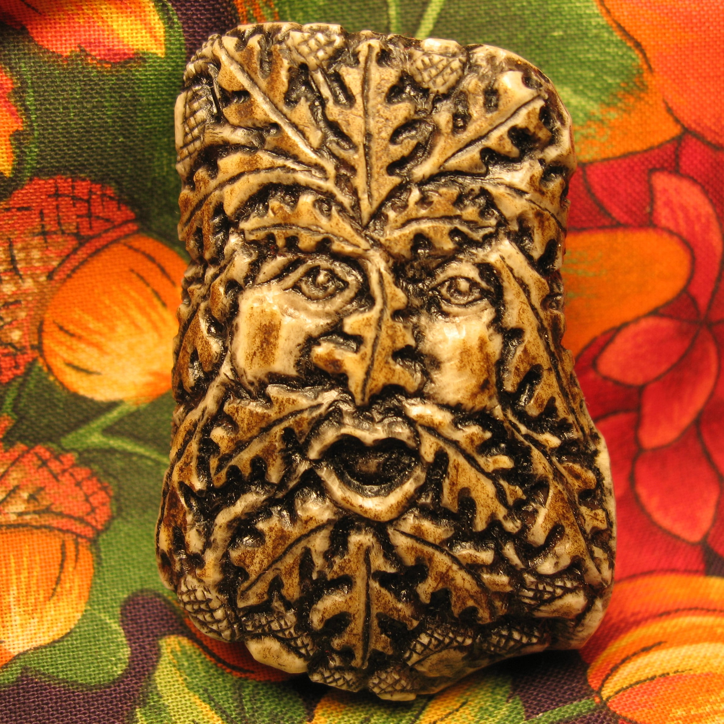 Carved Tooth Greenman with mushroom and Oak reproduction leaves zipper pull zipper charm Accessories Purses /& Bags Medieval Woodspirit