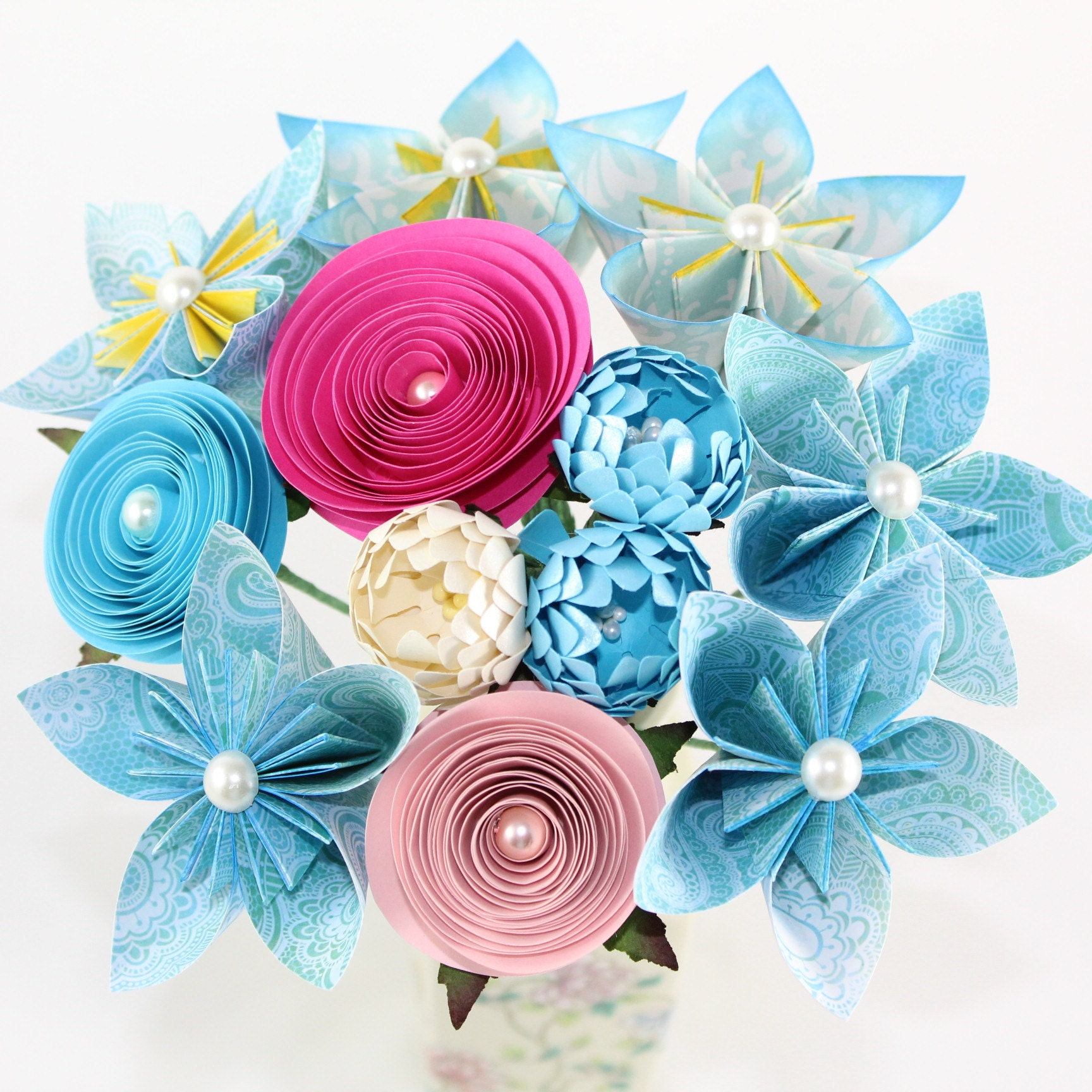 Paper Flower Bouquets Origami Flowers Paper Flower Etsy