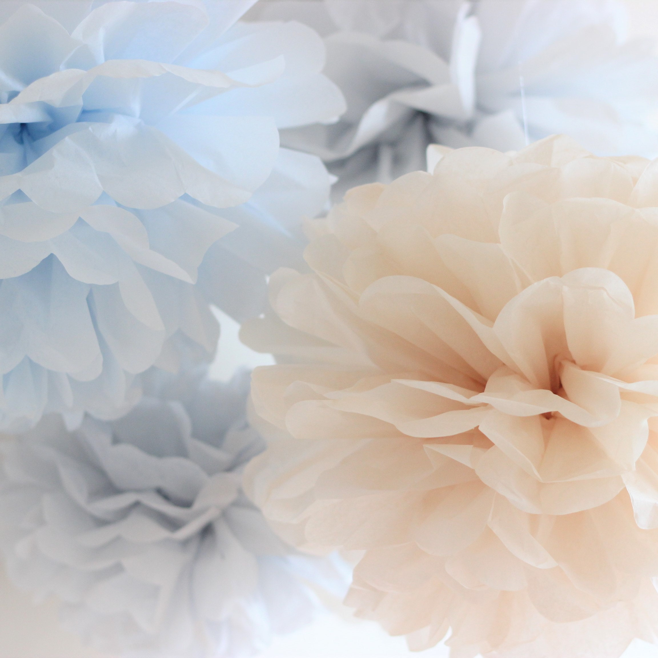 Tissue Paper Flowers Set Of 15 456 Blue Hanging Etsy