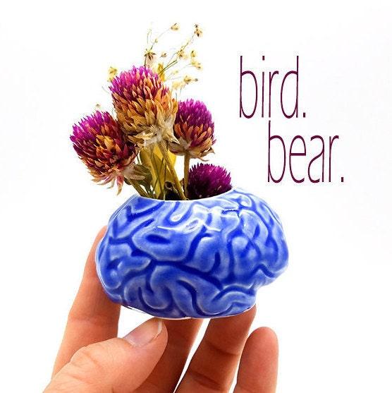 science therapy Planter Brain Neuroscience office Blue Brain Bowl --- Psychology graduation gift mental health d\u00e9cor bowl