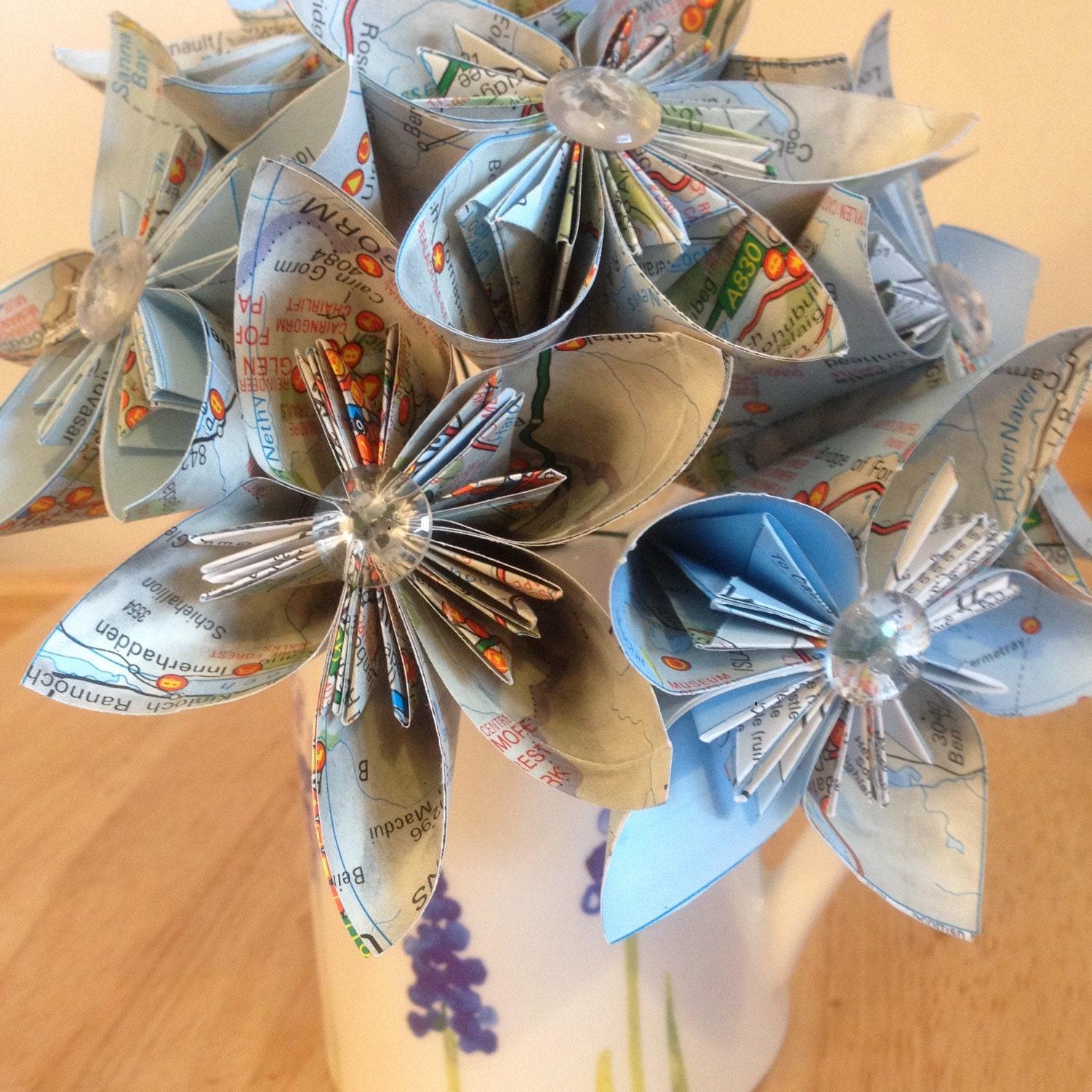 Map Flowers Kusudama Bridal Bouquet Paper Flower Origami Etsy