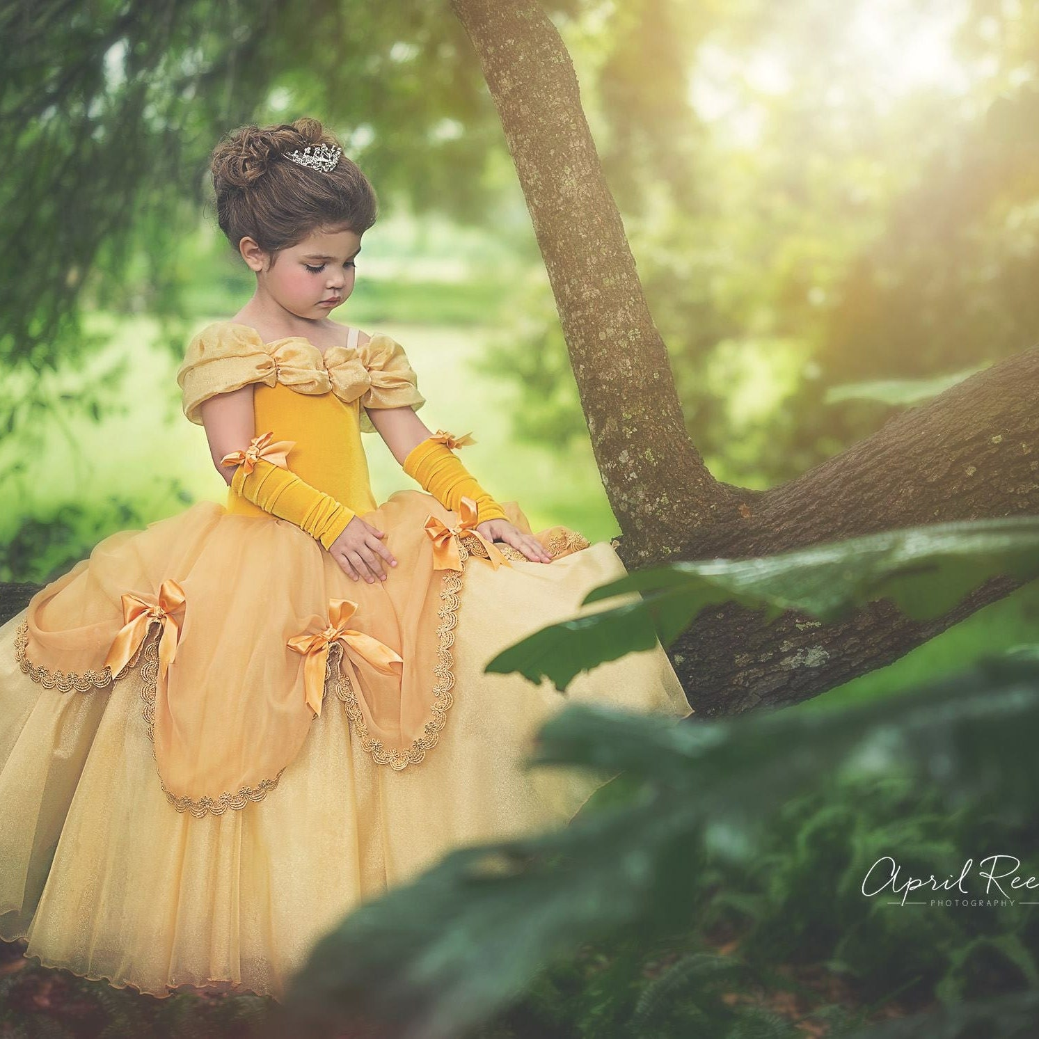Belle inspired princess costume size 10 ball gown halloween