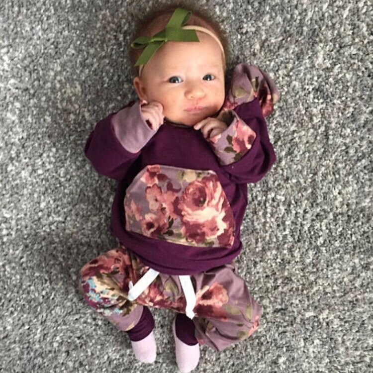 baby girl outfit purple baby outfit floral baby outfit | Etsy