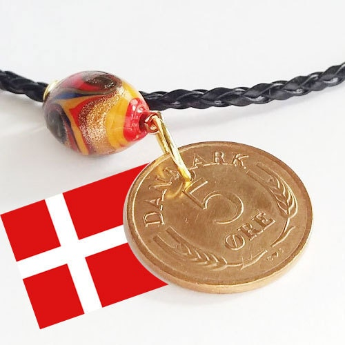 Genuine vintage coin 80 year 5 ore from Denmark 80th gift. Authentic crown coin 1941 coin pendant necklace Cord by choice C initial