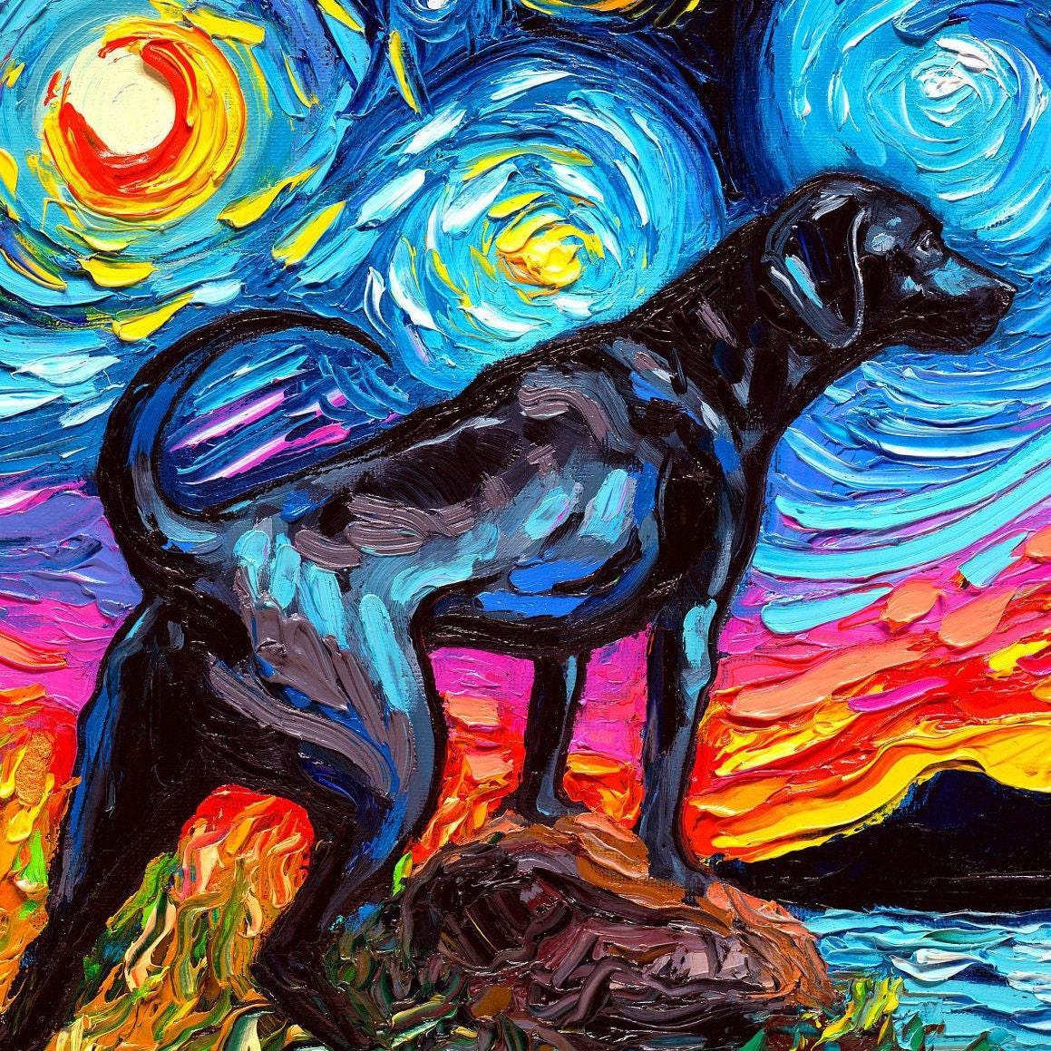 Whippet coffee dog  giclee art PRINT 8x10 impressionism  animals