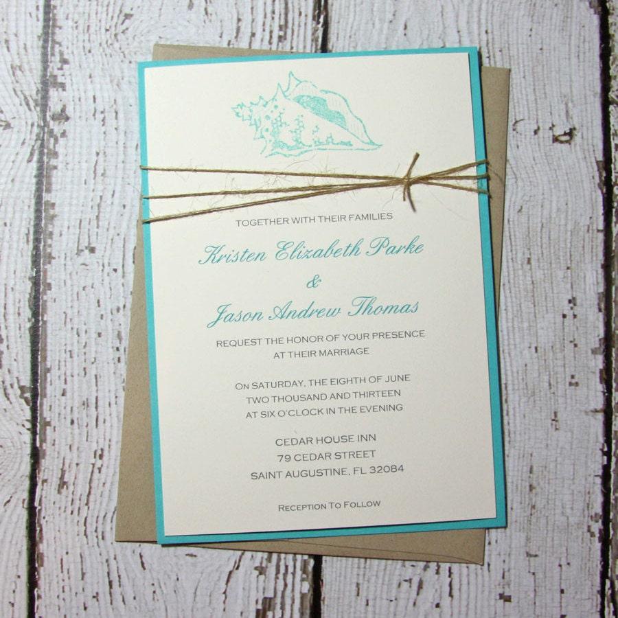 Teal Pocketfold Wedding Invitations Beach Wedding   Etsy