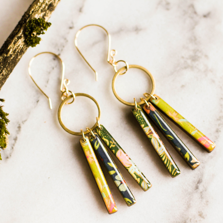Brass Jewelry Gift Rain Earrings Raindrop Earrings Plum Purple Ombre Earrings Resin Earrings Nature Jewelry Statement Earrings