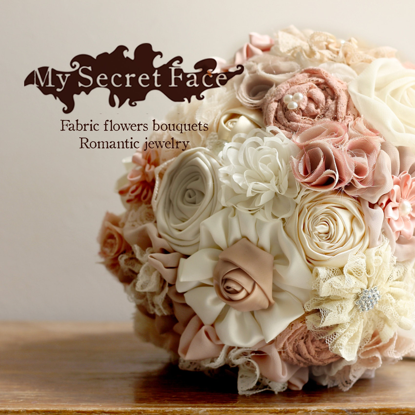 Bridal Bouquet Blush Tans Bouquet Fabric Flowers Bouquet Etsy