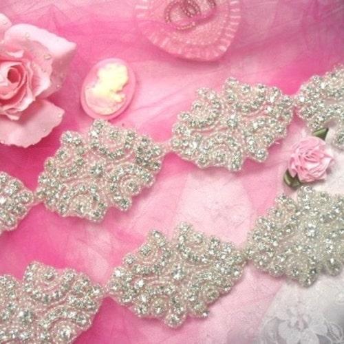 "JB48 Hot Fix Silver Beaded Crystal Rhinestone Applique 7/""  Bridal Sash Motif"