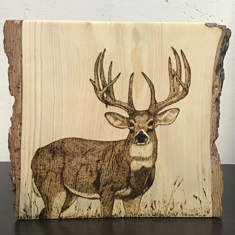 Deer Silhouette Wood Burning on Cedar | Etsy