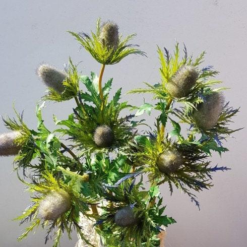 Chardon Violet Teasel Cône artificielle Eryngium Soie Fleur Écossais anniversaire.