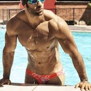 Gray /& Orange Asymmetrical Swim Bikini for Men by Vuthy Sim    18-13