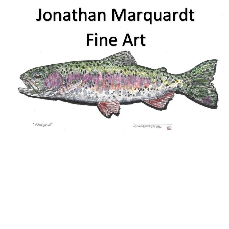 Trout fly fishing artwork Big Spring Twist by Jonathan Marquardt of BadAxeDesign
