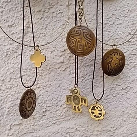 Indigenous art Aztec Aztec eagle  Bronze handmade pendant with tribal symbolism from precolumbian Mexico Unisex. Mayan Toltec style