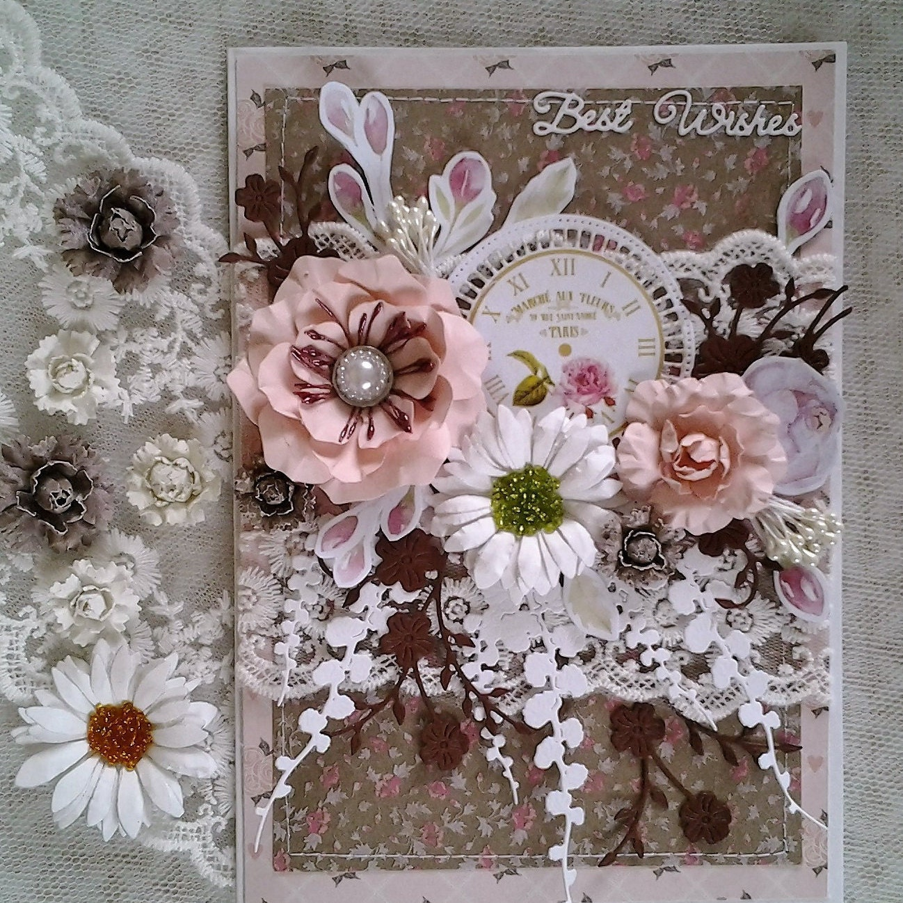 Handmade Greeting Card Luxury Floral Shabby Chic 3d Etsy