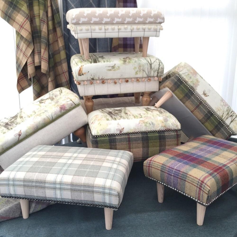 Long Footstool Stool /& 4 Cushions Laura Ashley Elmore Silver Fabric