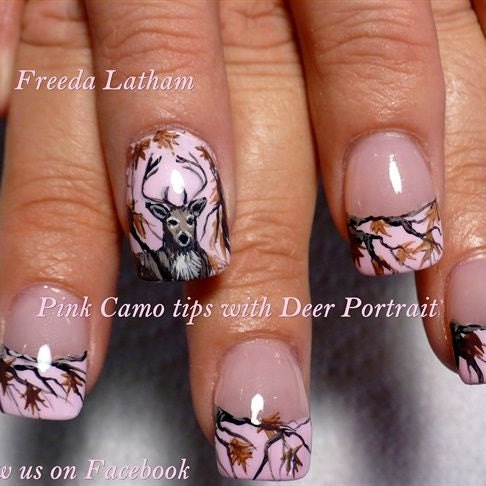 30 Pink Camo With Buck Nail Decals From The Signature Etsy