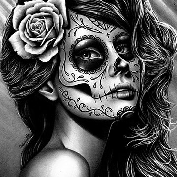 8x10 or 10.5x13.75 inch Signed Art Print Tattoo Style Sugar Skull Girl With Black Widow Spider 5x7 Black Widow by Carissa Rose