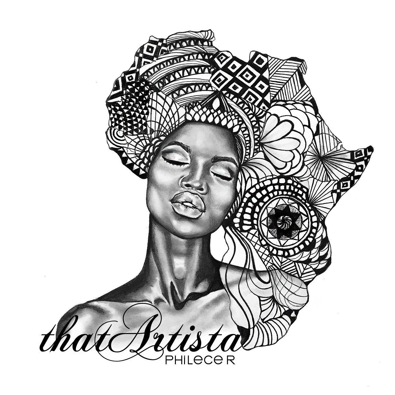 красная картинки африканки в векторе стиле прованс