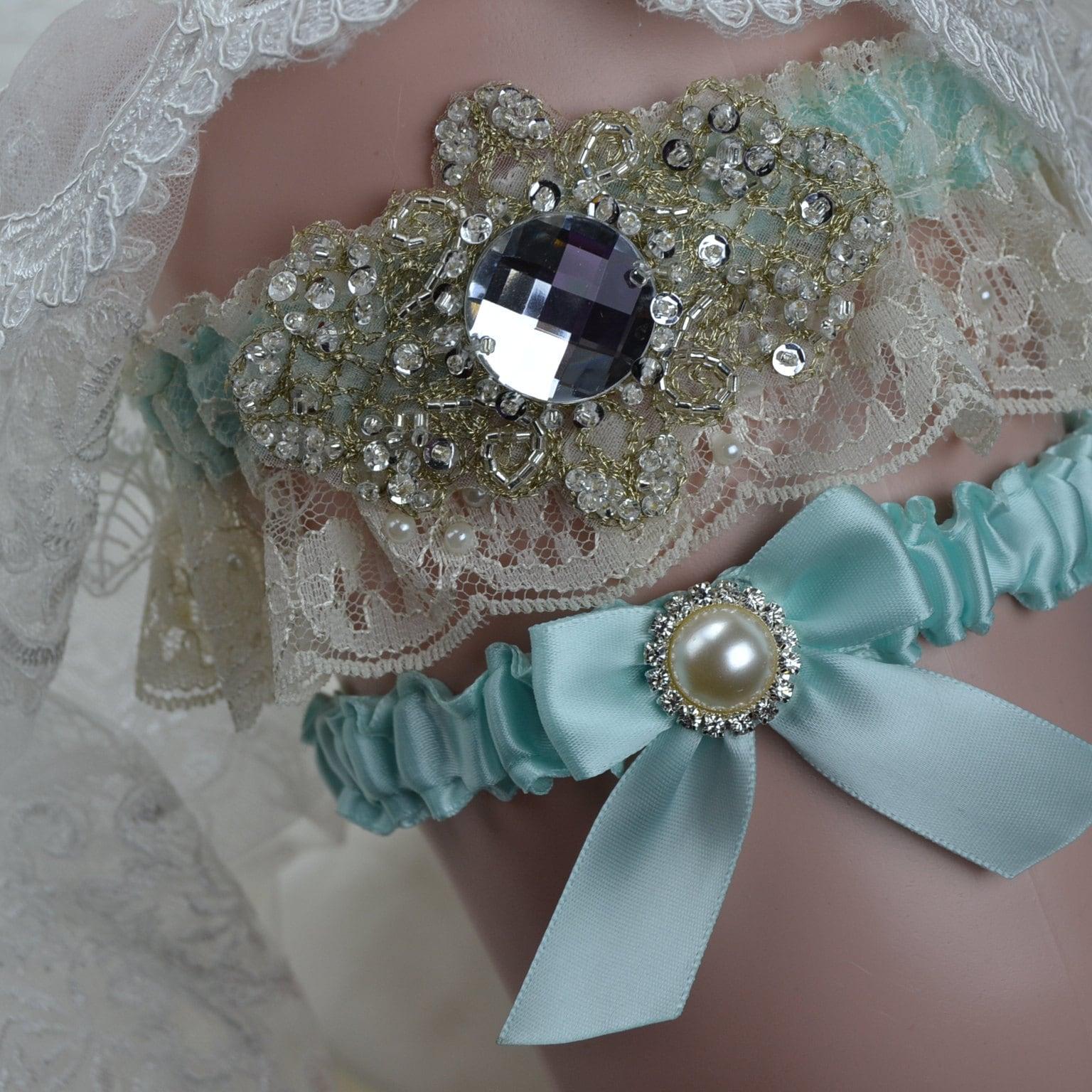 Long Wedding Garters: Wedding Garter Set/ Ivory Lace Wedding Garter/Bridal