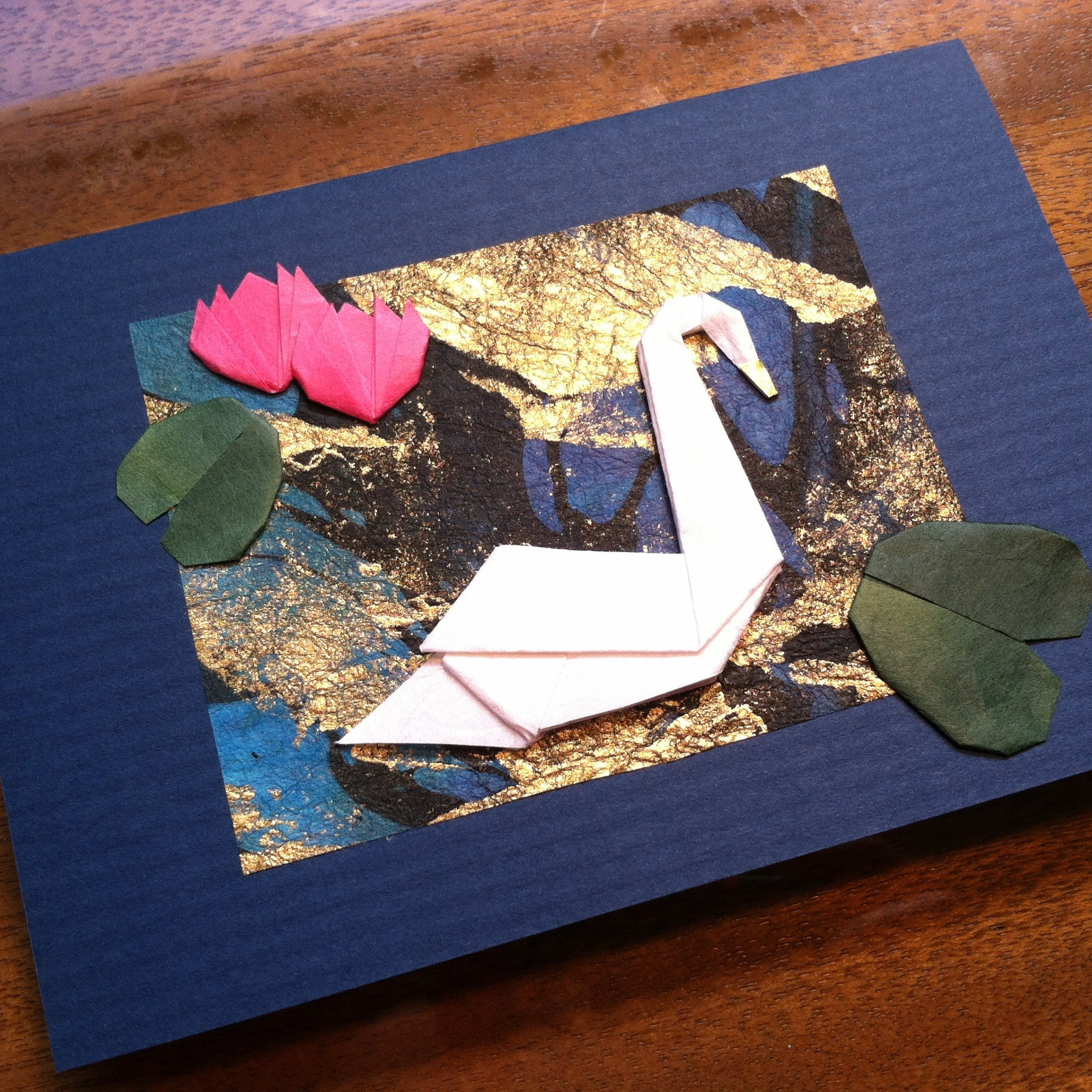 Handmade Origami Plumeria Flower Greeting Card Etsy