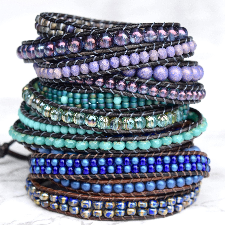 Beaded Leather Wrap Bracelets Delicate von BluefishBohemian auf Etsy