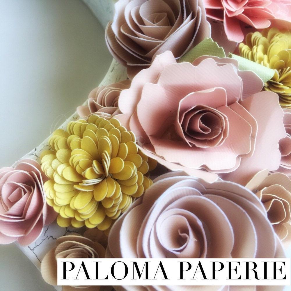 Floral Letter Paper Flower Letter Paper Mache Floral Letter Etsy