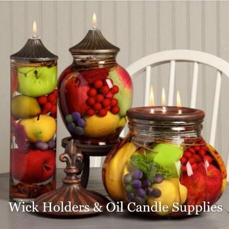 "6 Glass Wick Holders 3//4/"" Length 10/"" Fiberglass Wicks Oil Rock Candle Mason Jar"