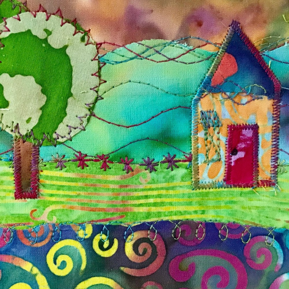 Outer Banks Spirit Horse with Gaillardia fabric art painting #1