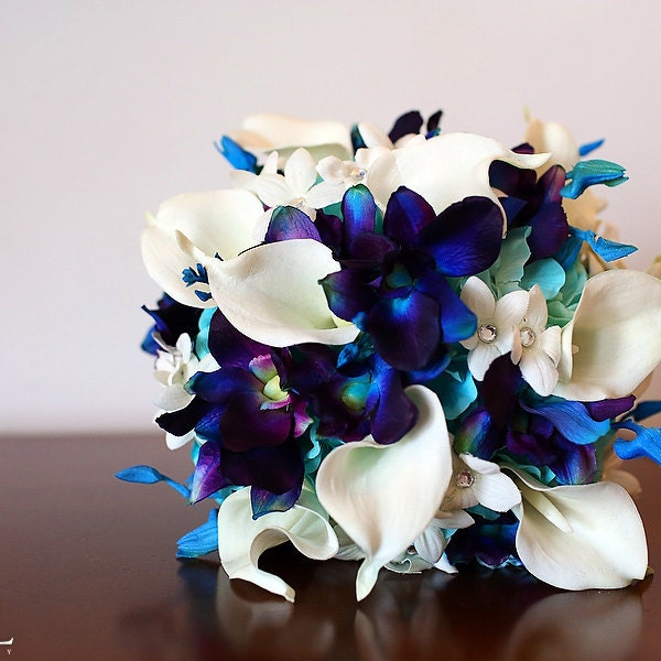 Lacey Ivory Teal Greenery Bridal Bouquet Teal Purple CA Orchids Athens Greenery Ivory Open Roses White Calla Lilies Rhinestone Sprays