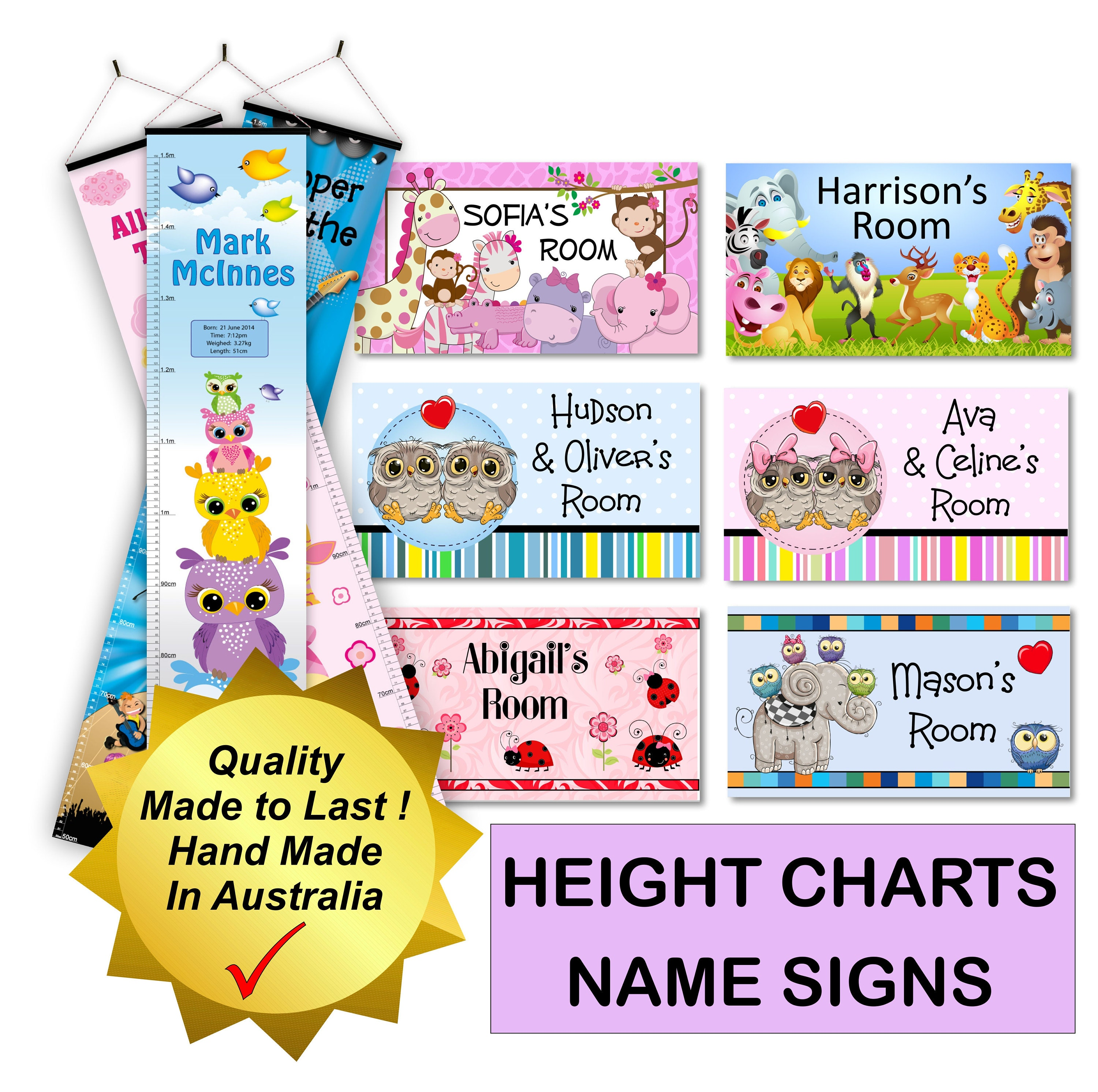 Height Chart Growth Australian Gift For Baby Or Kids Room Etsy