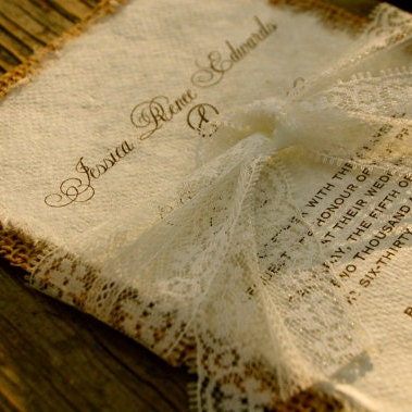 Diy lace and real burlap wedding invitation rustic barn etsy you cant buy your own item filmwisefo