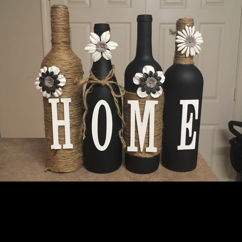 Wine Bottle Decor Hand Painted-family-Custom Decorated