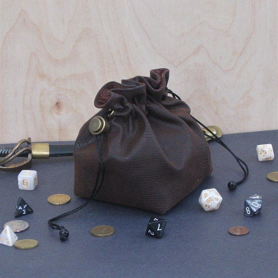 Extra large leather dice bag with Pen is Mightier embroidered for dungeons and dragons dnd dice pouch tabletop accessory jumbo size big bag