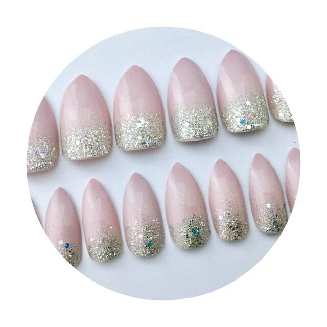 Handmade Designer Press On Nails from Girly by NeverTooMuchGlitter