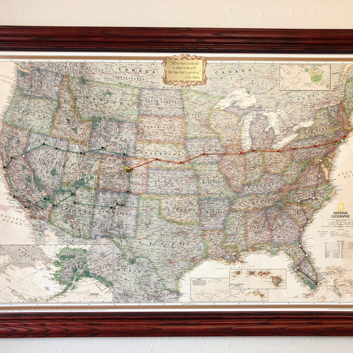 Personalized Executive US Travel Map with Pins and Frame | Etsy
