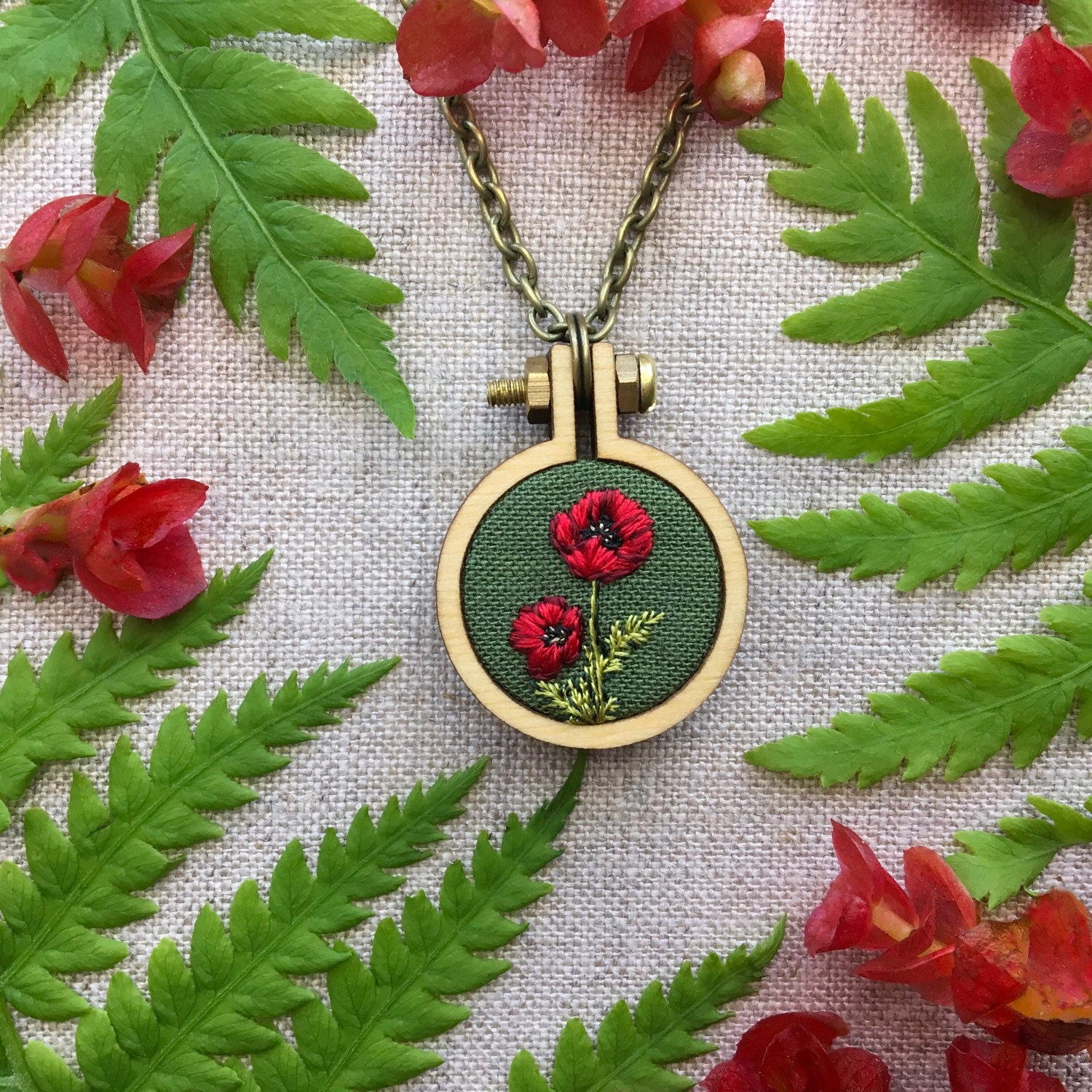 Red poppy hand embroidered pendant august birth flower silk red poppy hand embroidered pendant august birth flower silk embroidery miniature art necklace mightylinksfo