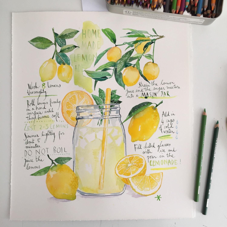 Kitchen wall art Homemade lemonade recipe print Bright | Etsy