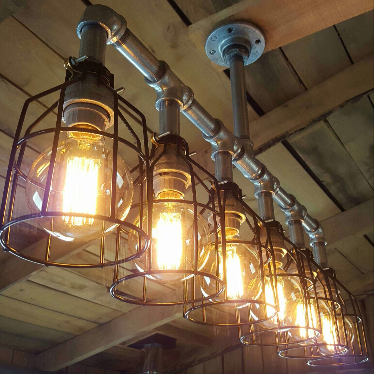 Items Similar To Galvanized Light Rustic Industrial: Rustic Industrial Lighting Chandelier UL LISTED GALVANIZED