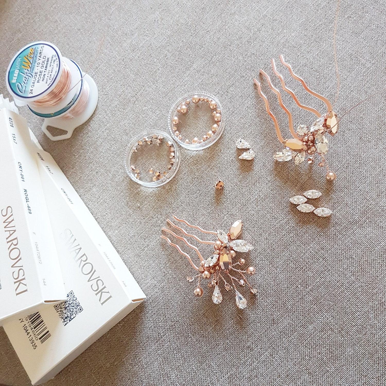 Pettine d oro rosa oro Swarovski rosa rosa copricapo  9d3457534bd2