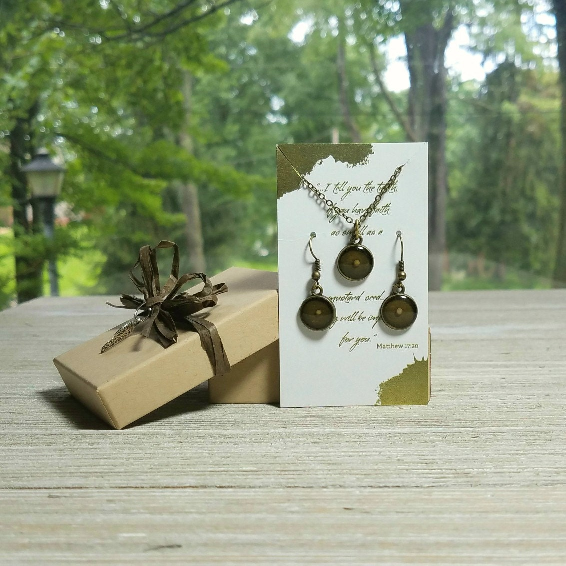 mustard seed jewelry set resin mustard seed necklace and