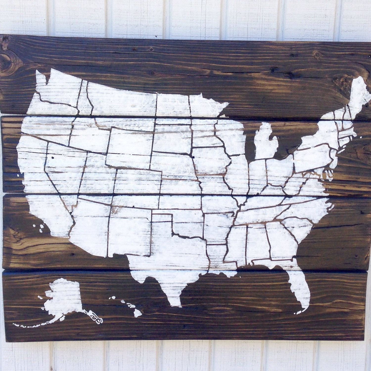 Wooden USA Map With State Borders United States Pallet Art   Etsy