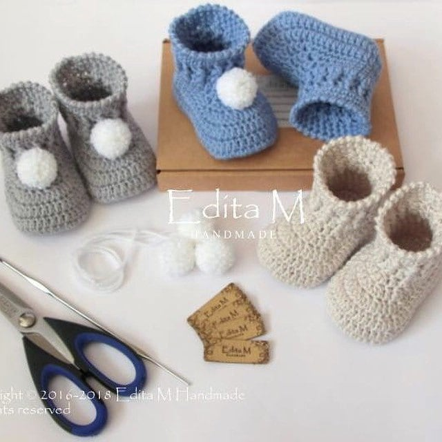 Crochet baby booties and more... by EditaMHANDMADE on Etsy