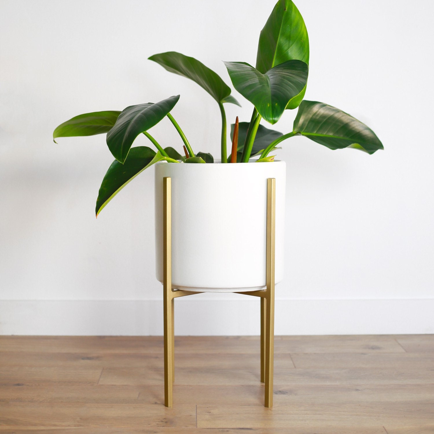 Medium Mid Century Modern Planter With Gold Metal Stand  10