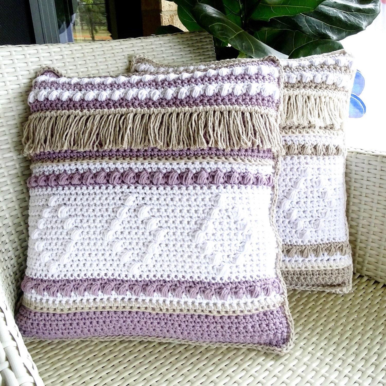 Crochet Cushion Cover Pattern Diy Crocheted Boho Throw Etsy
