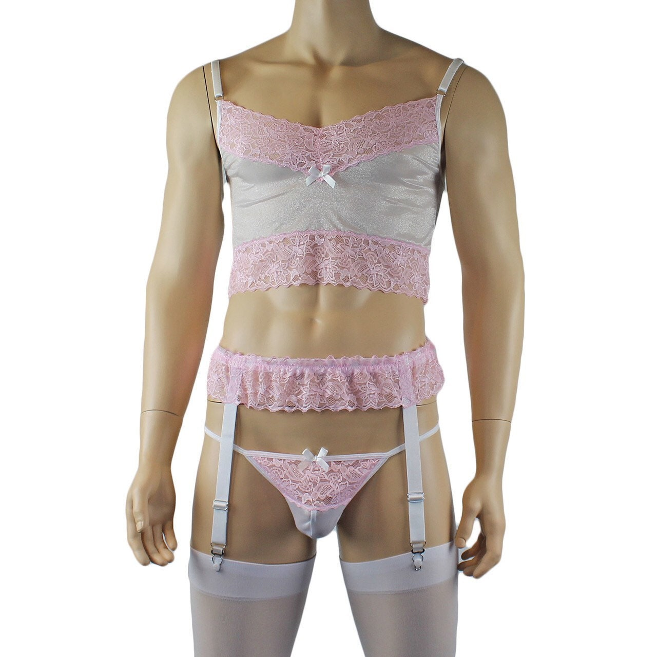 Brief Garterbelt and Stockings Pink Male Stretch Crystal /& Lace Camisole Top