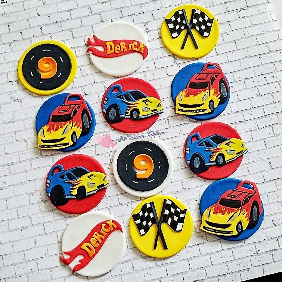 Cars fondant cupcake toppers hot wheels cupcake toppers etsy