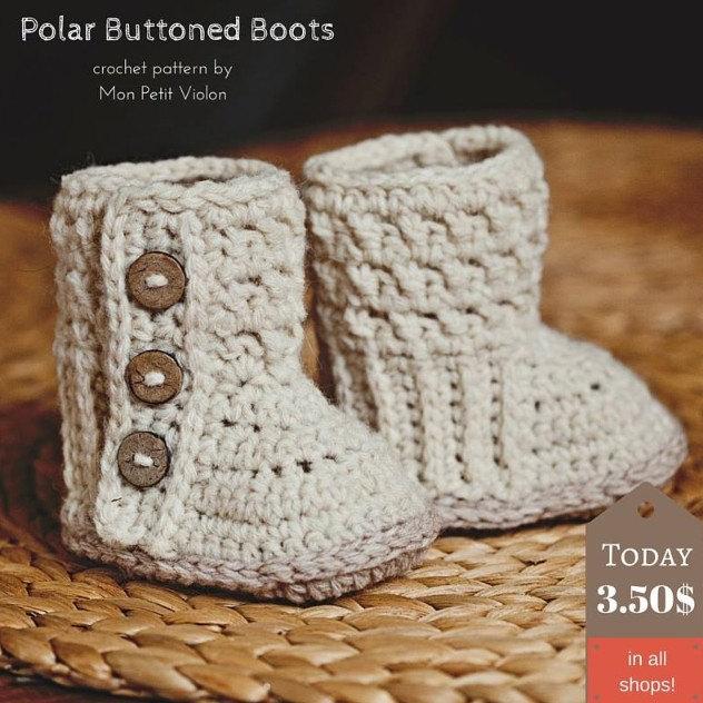 Baby Booties Crochet PATTERN - Polar Buttoned Boots 51688bdafc99