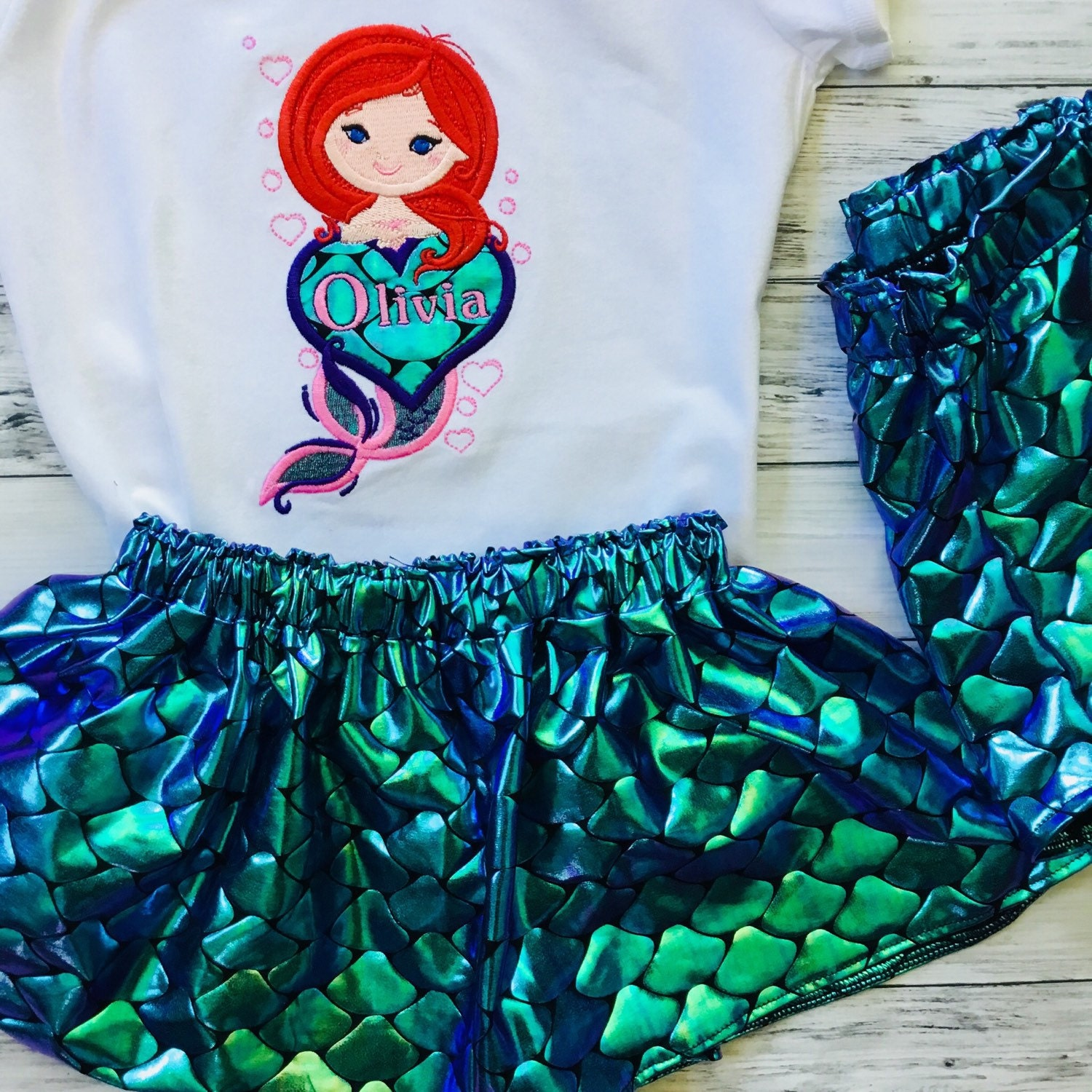 b33657948 Mermaid Outfit for girls Personalized Mermaid top with