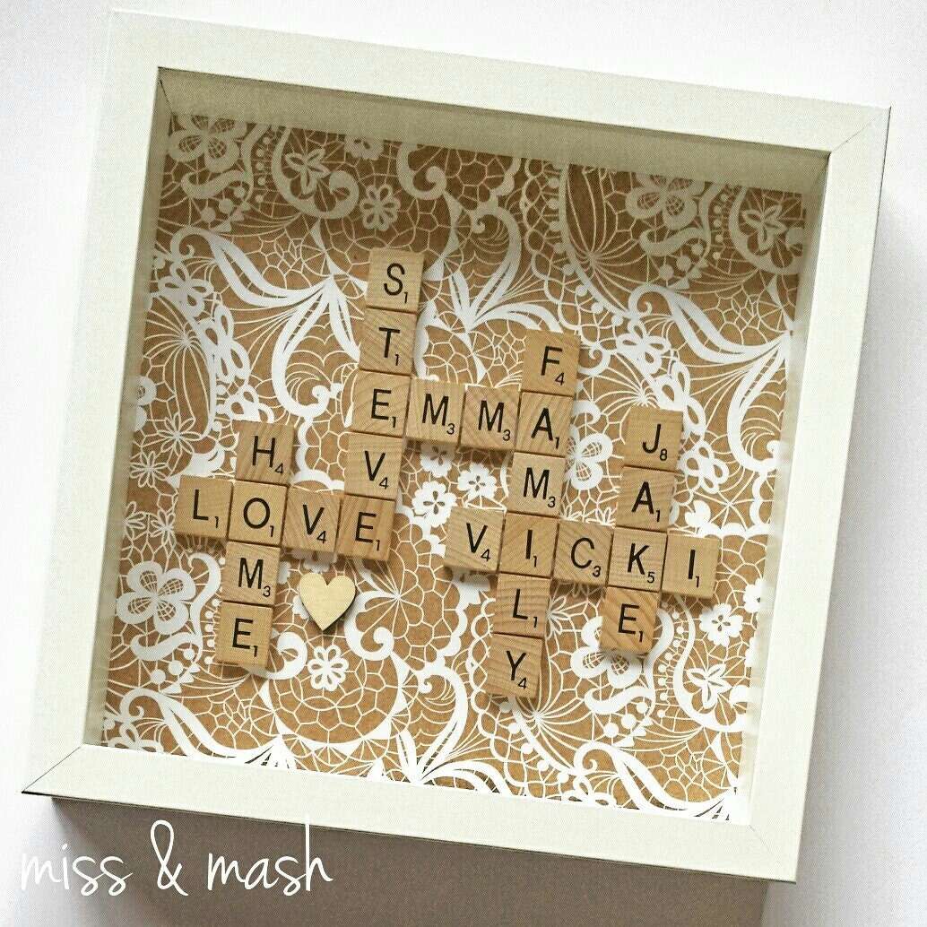 Personalised Scrabble Family Name Frame Wall Art Birthday